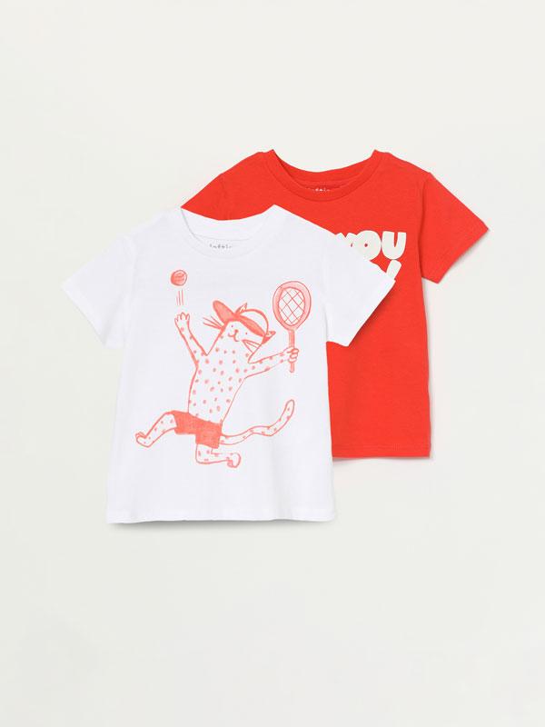 Pack de 2 samarretes estampades de màniga curta