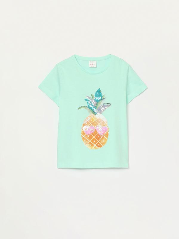 T-shirt com estampado tropical de lantejoulas