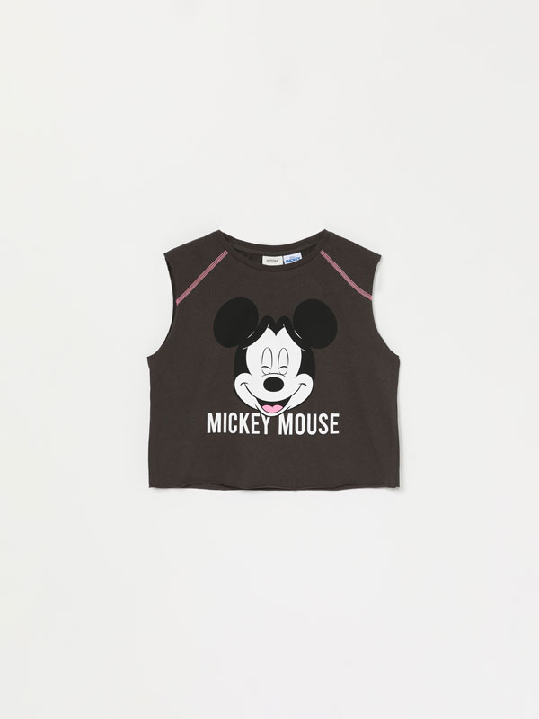 T-shirt cropped sem mangas de Mickey © Disney
