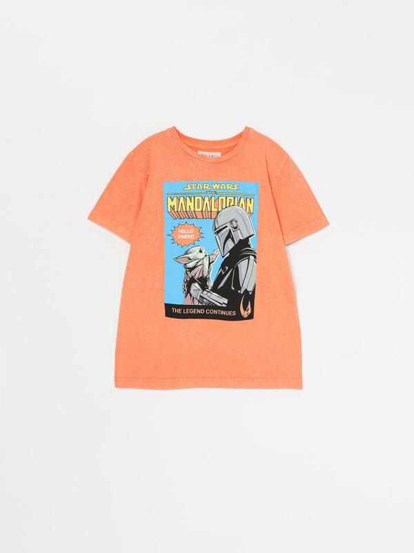 Camiseta efecto lavado con estampado de Star Wars