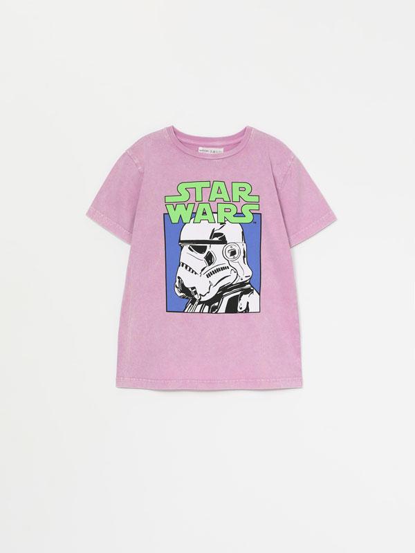 T-shirt com efeito de lavagem e estampado de Star Wars