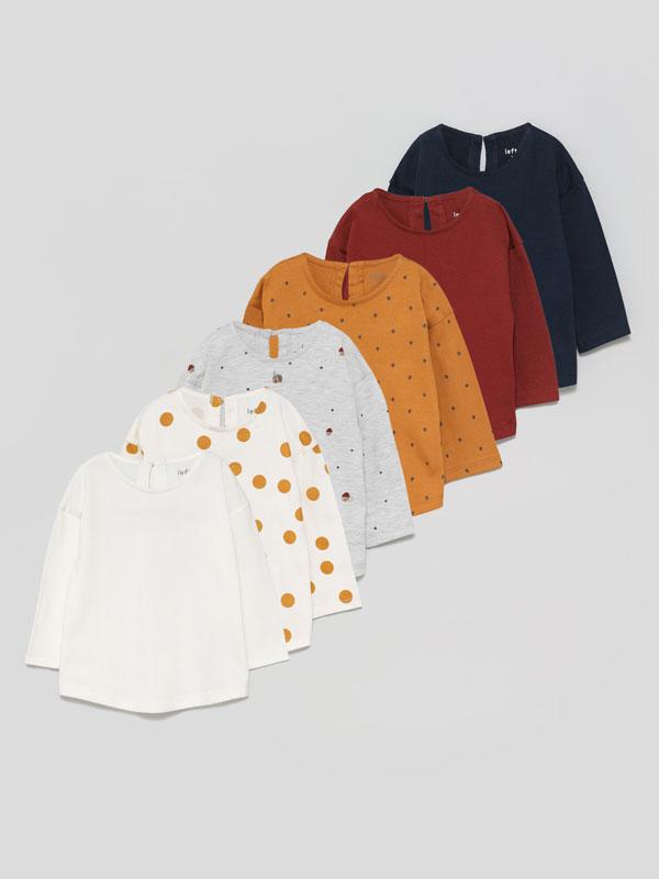 Pack de 6 camisetas básicas lisas e estampadas de manga longa