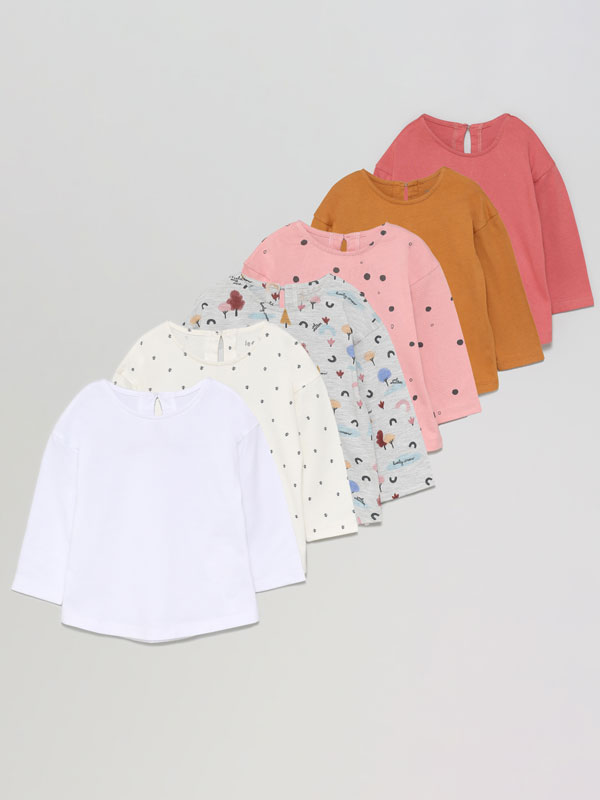 Pack of 6 basic plain and printed short sleeve T-shirts
