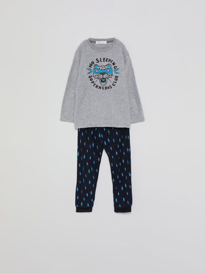 Printed fleece pyjama set
