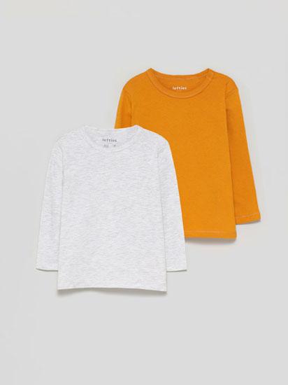 Pack de 2 camisetas básicas de manga longa.