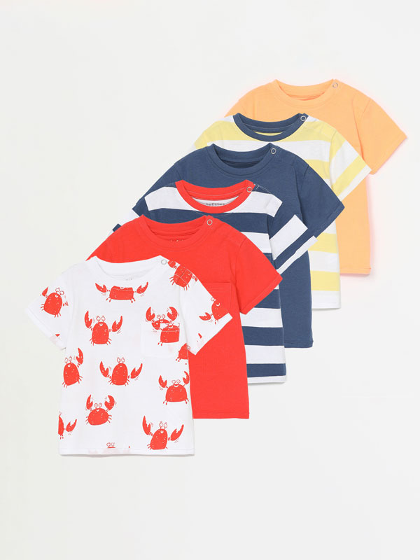 PACK OF 6 PLAIN AND PRINTED SHORT SLEEVE T-SHIRTS