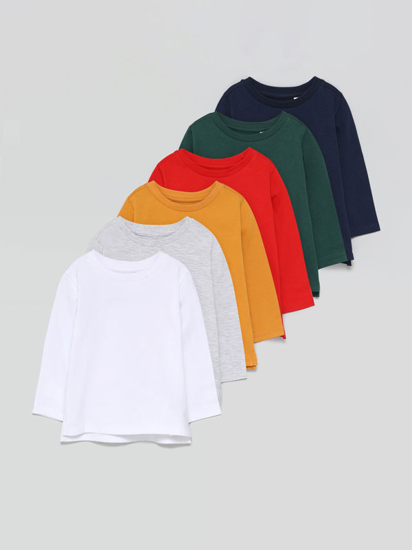 Pack de 6 camisetas básicas de manga larga