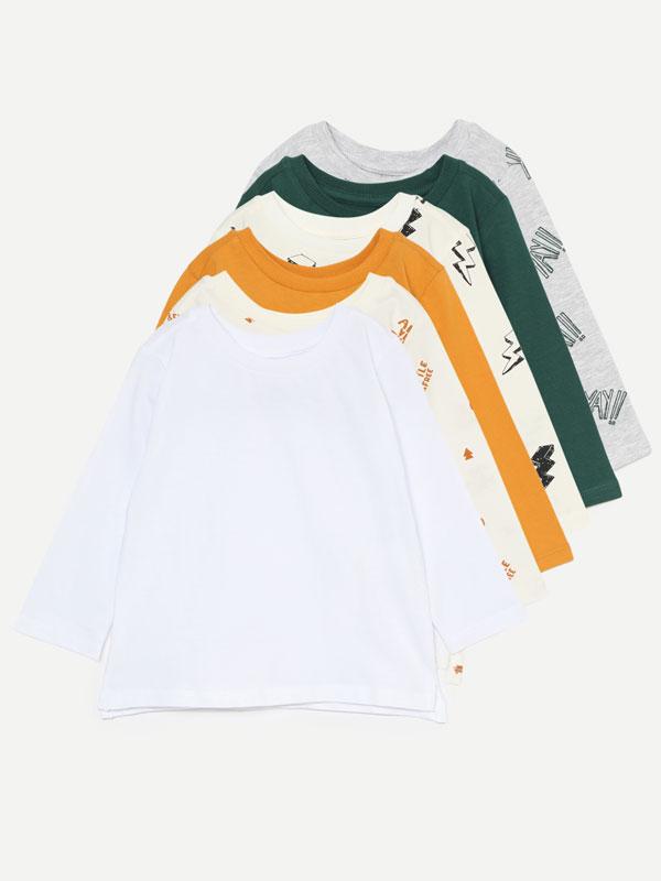 Pack de 6 camisetas básicas lisas y estampadas de manga larga