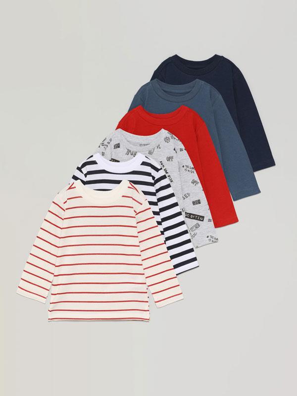 Paquet de 6 samarretes bàsiques llises i estampades de màniga llarga