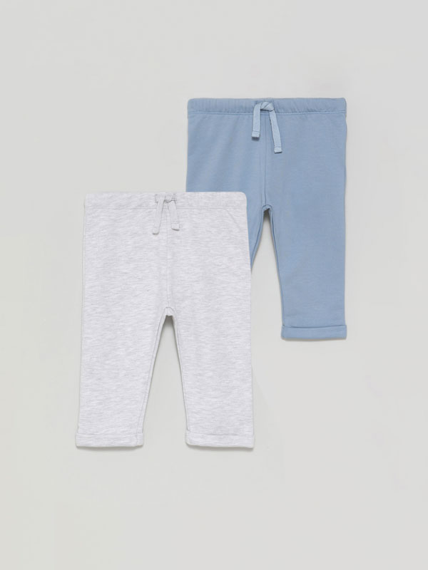 Pack of 2 basic plush trousers