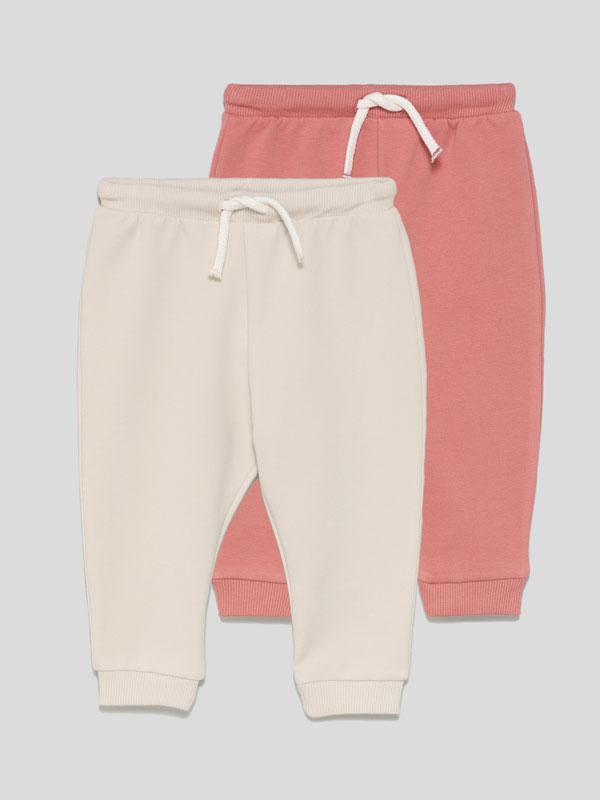Pack de 2 calças de felpa básicas