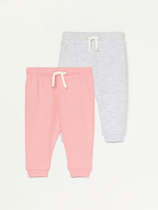 PACK OF 2 PLAIN PLUSH TROUSERS