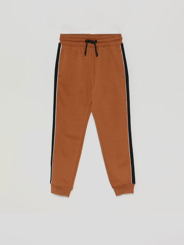 Basic plush trousers with stripe