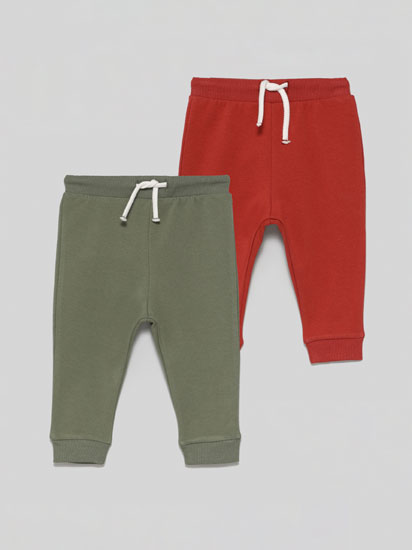 Pack of 2 Pairs Of Basic Plain Tracksuit Trousers