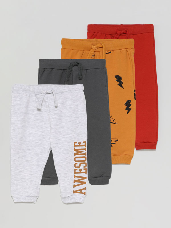 Pack of 4 plain and printed basic tracksuit bottoms