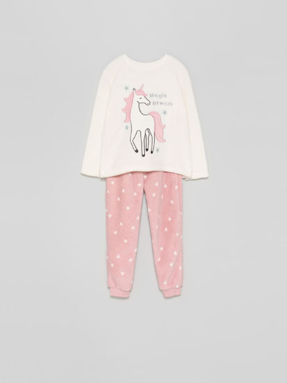 Printed fleece pyjama set