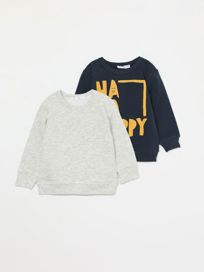 2-PACK OF BASIC PRINTED AND PLAIN SWEATSHIRTS