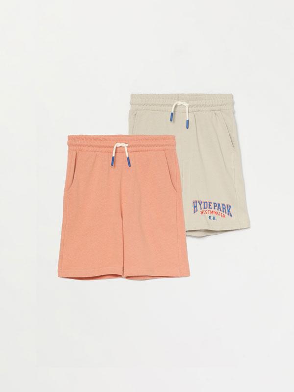 2-Pack of plain and slogan printed Bermuda shorts