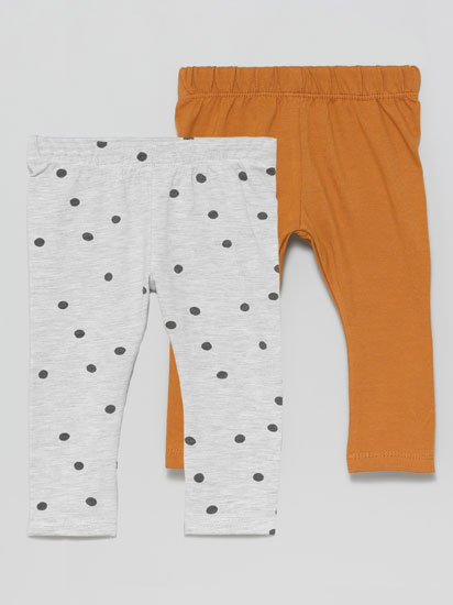 2-Pack of long basic plain and printed leggings