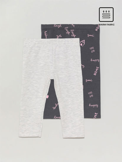 Pack de 2 leggings de felpa largos con interior calentito
