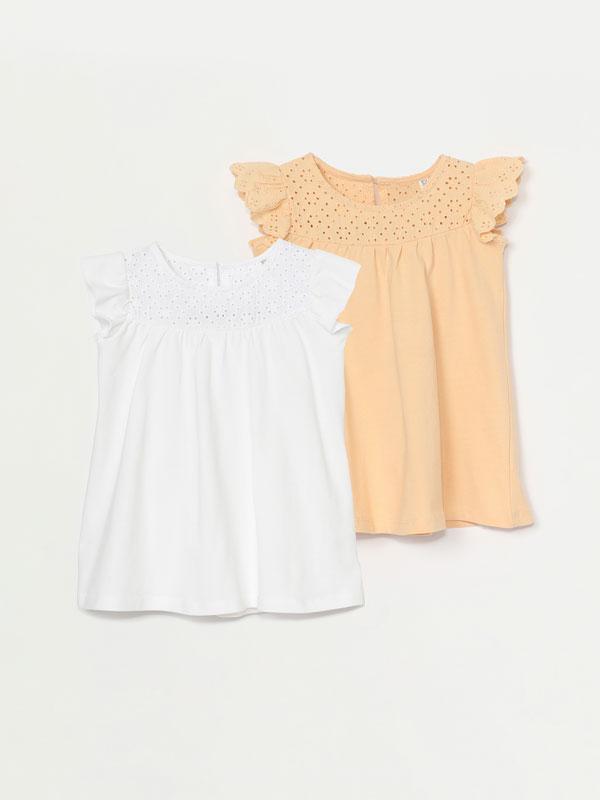 Pack of 2 short sleeve openwork dresses