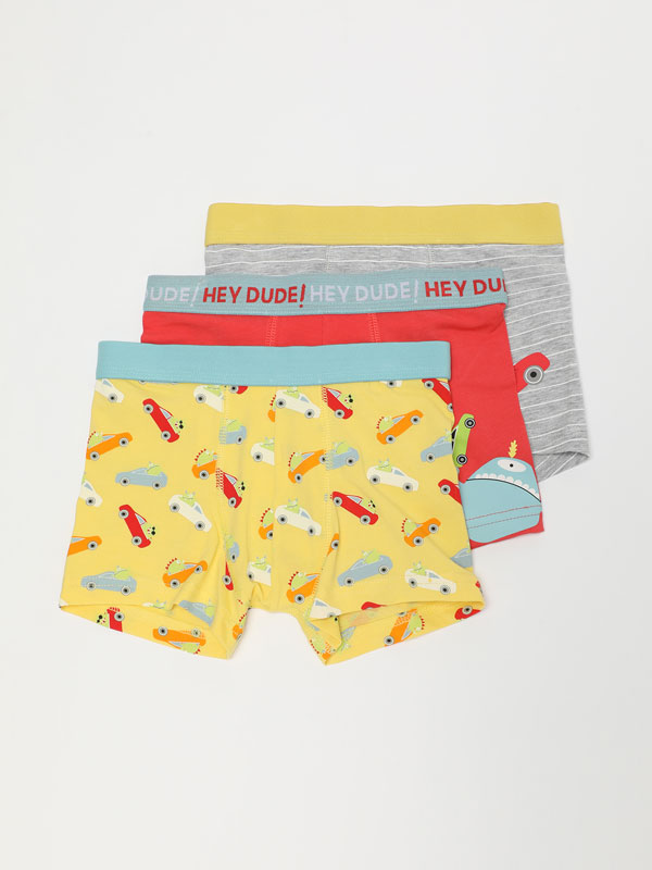 3-Pack of car print boxer shorts