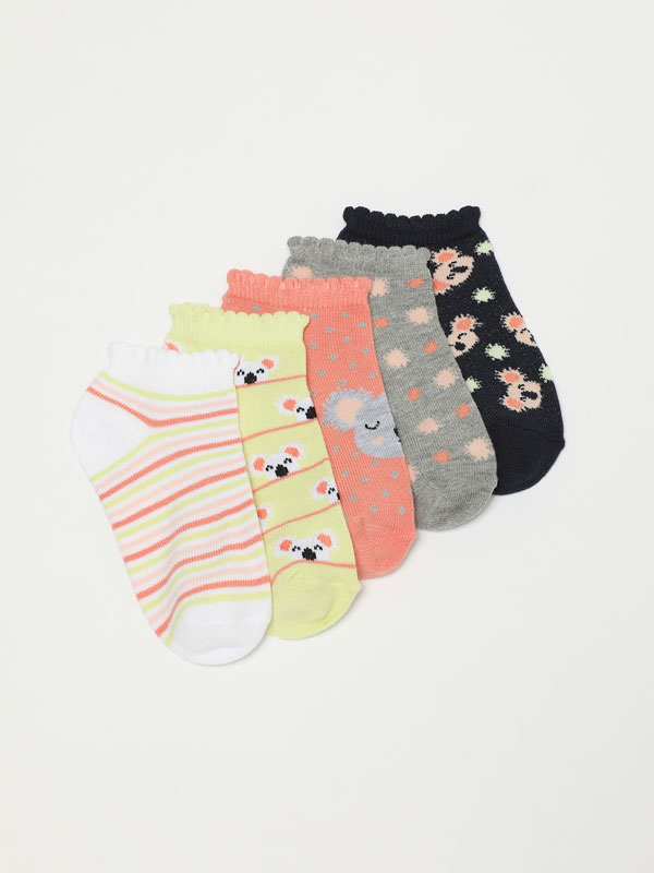 Pack of 5 pairs of socks with a koala print.