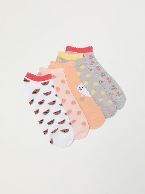 Pack of 5 pairs of socks with a fruit print.