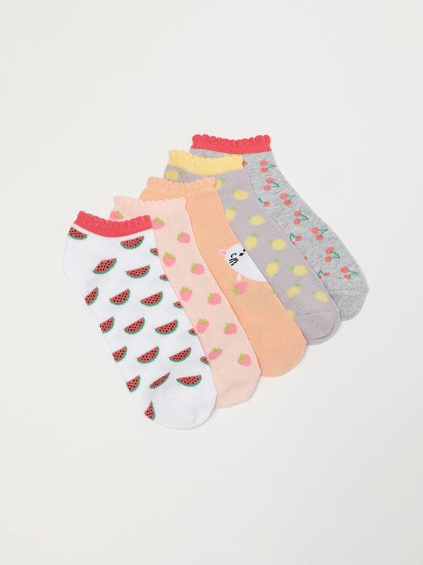Pack de 5 pares de calcetíns con estampados de froitas
