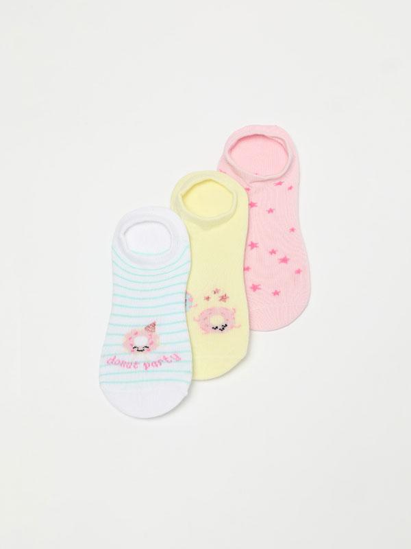 Pack de 3 pares de calcetíns con estampado de rosquillas