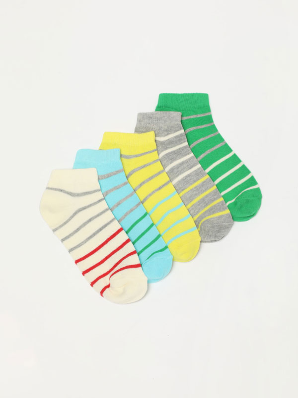 Pack of 5 pairs of stripe print socks