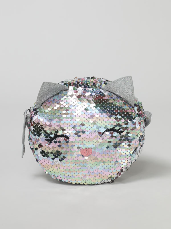 SEQUINNED CAT CROSSBODY BAG
