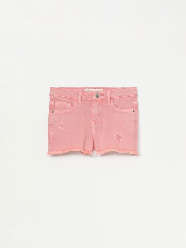 Pantalón curto vaqueiro cor