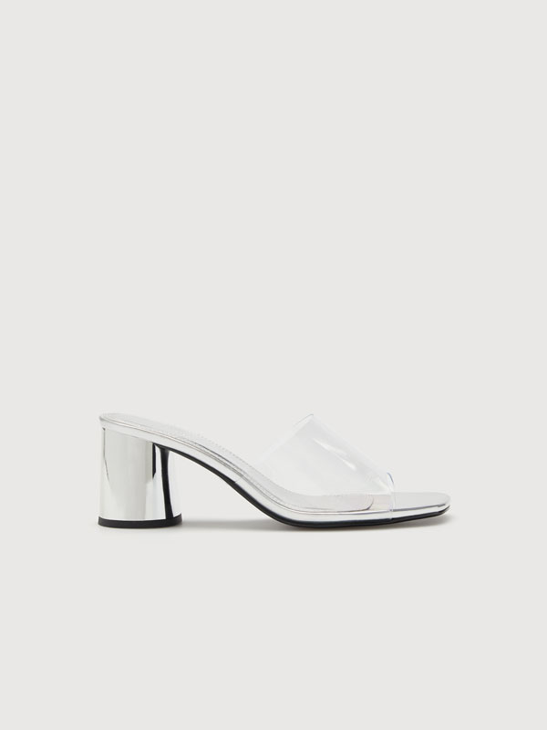 Metallic high heel sandals