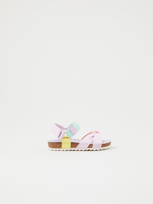 Multicoloured strap sandals
