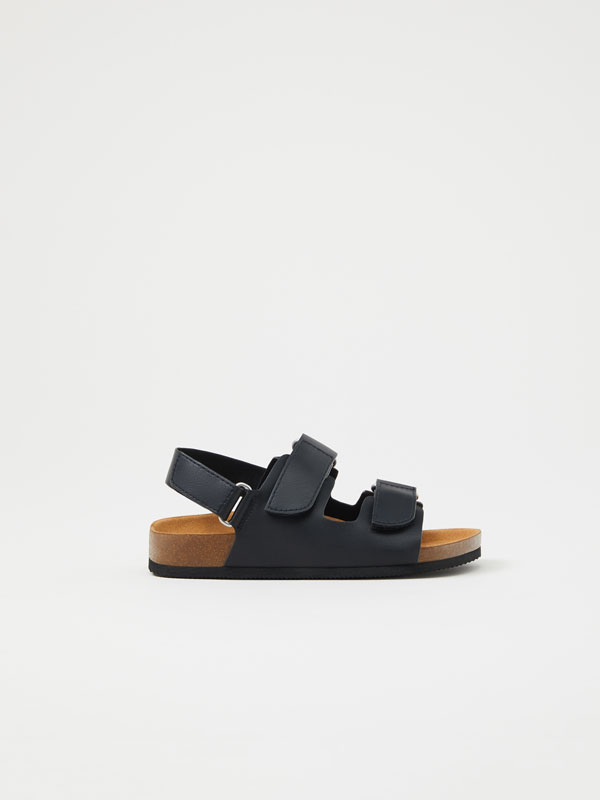 Sandals with hook-and-loop straps