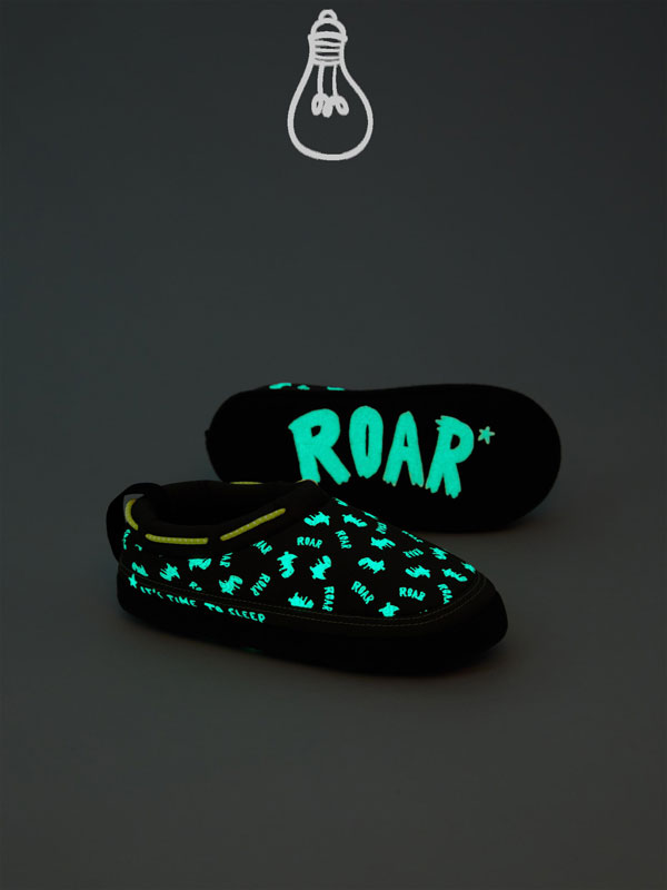Fluorescent dinosaur house slippers