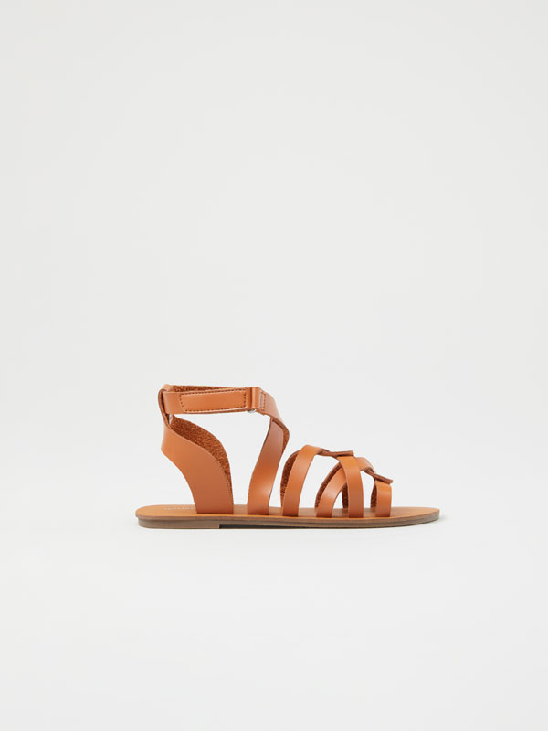 Ankle strap sandals with crossover straps